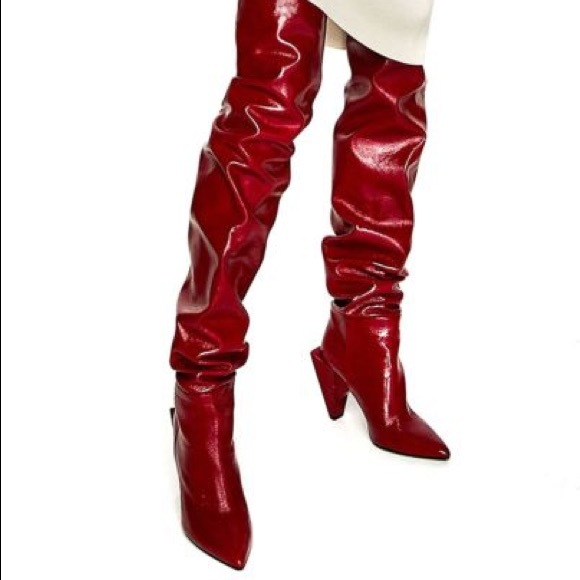 0531d7eb92a NEW Zara Red Leather Over the Knee OTK Heel Boots